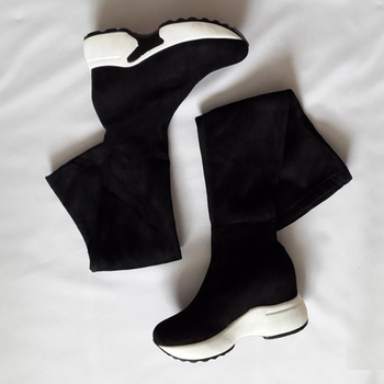 QUTAA 2022 Stretch Fabrics Over The Knee Boots Height Increasing Round Toe Women Shoes Autumn Winter Casual Long Boots Size34-43 2