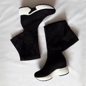 Image 2 - QUTAA 2020 تمتد الأقمشة فوق الركبة أحذية الارتفاع زيادة جولة تو أحذية النساء الخريف الشتاء أحذية طويلة غير رسمية Size34 43