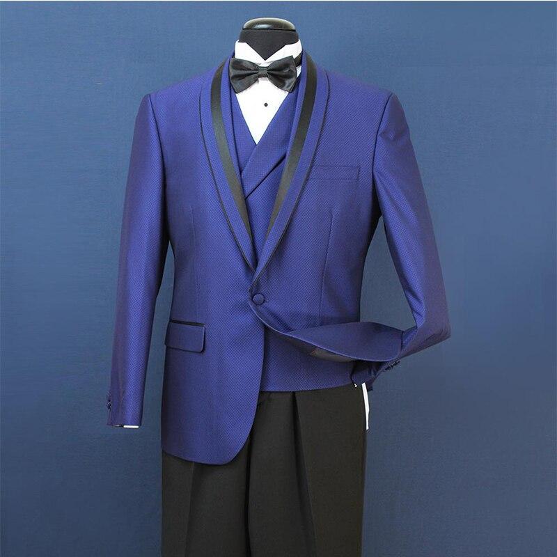 Black Mens Wedding Suits Groom Groomsmen Wear Three Pieces Tuexdos Business Party Dinner Prom Wedding Dress (Jacket+Vest+Pants)