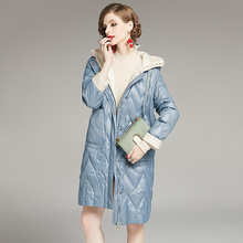 2021 New Winter Women Coat Female Knitted Hat Stitching Hooded Puffer Jackets Casual Loose Oversize Warm Outwear