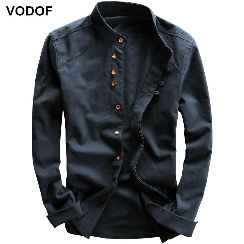 VODOF Men Spring Summer Cotton Linen Shirt Slim Mandarin Collar Comfortable Undershirt Male Plus Size Chinese Casual Shirts