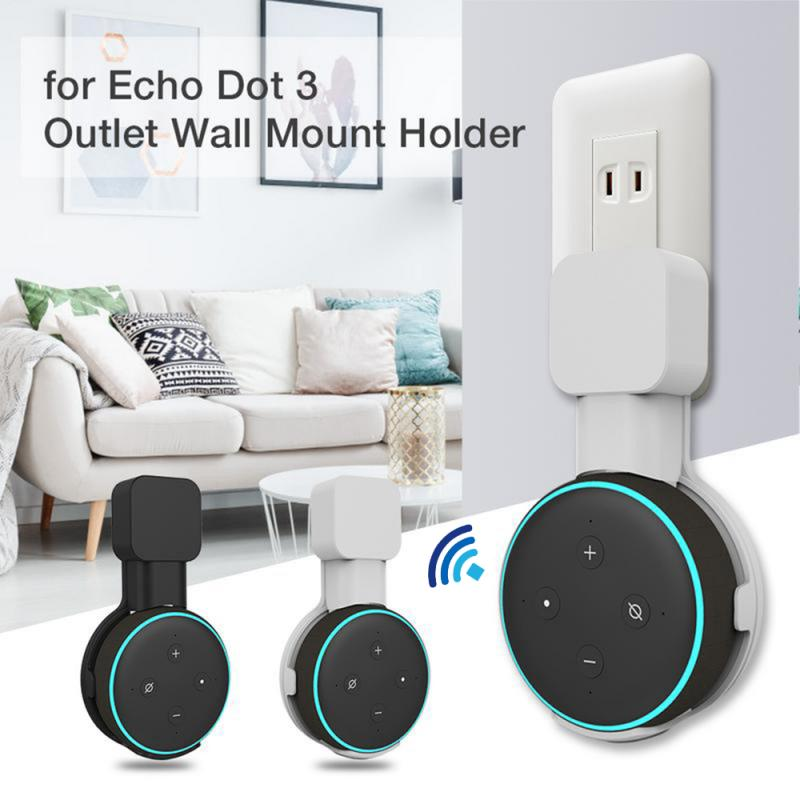 Mini Outlet Wall Mount Stand Hange For Echo Dot 3rd Generation Holder Case US Plug Plug-in Mount Stand Work With Amazon Echo Dot