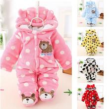 Winter Boys Girls Baby Long-sleeved Thicken Hooded Soft Warm Flannel Romper Cute Cartoon Jumpsuits