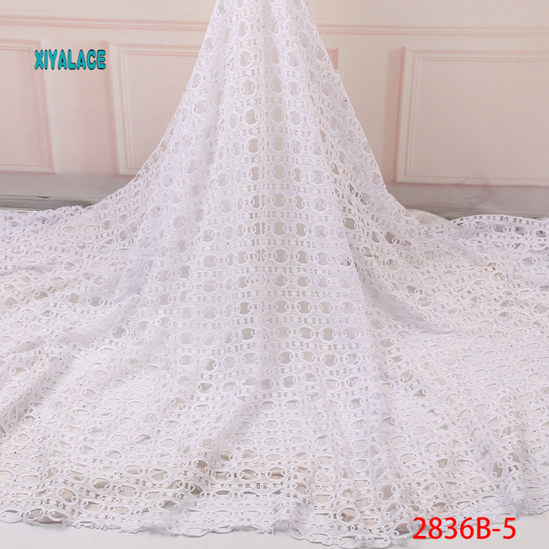 White African Cord Lace Fabric High Quality Cord Guipure Lace Fabric Nigerian Wedding Lace Fabric African Lace Fabric YA2836B-5