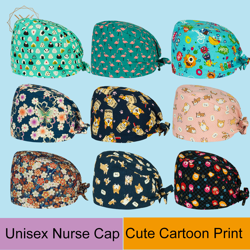 Doctor Surgical Caps Animal Print Scrub Cap Pet Grooming Doctor Work Cap Cotton New Breathable Dental Medical Use Nurse Hats