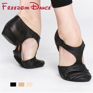 Image 5 - Genuine Leather Stretch Jazz Dance Shoes For Women T Strap Ballet  Lyrical Dancing Shoe Teacherss Dance Sandals Excercise Shoe