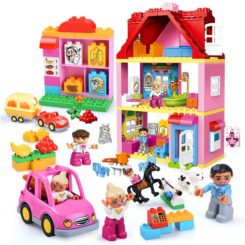 Duplos Pink City Girls Princess Blocks DIY Fashion Figure House L Friends Brick Big Particle Building Blocks Kids Gift
