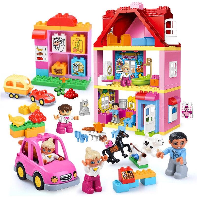Duplos Pink City Girls Princess Blocks DIY Fashion Figure House Legoingly Friends Brick Big Particle Building Blocks Kids Gift