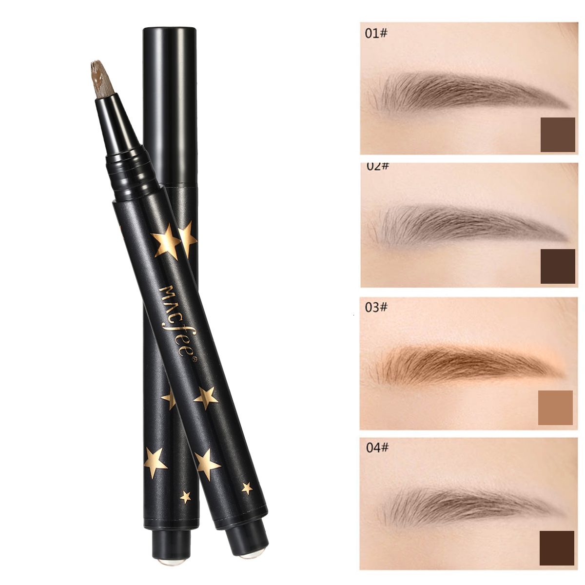 New Brand Natural Brown Eye Brow Tattoo Pen Maleup Kit Long Lasting Waterproof Press-type Liquid Henna Eyebrow Pencil Make Up