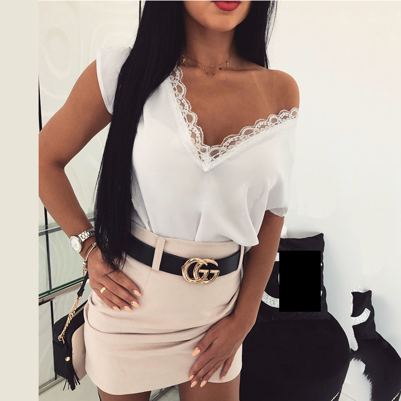Solid Sexy V-neck Lace Short Sleeve T-shirt Party Night Club Solid Casual Loose Retro Vintage Streetwear Hollow-out Female Top