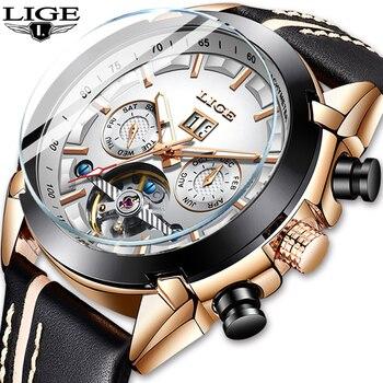 Reloj Hombre Men Watches LIGE Top Brand Luxury Automatic Mechanical Watch Leather Waterproof Sport Watch Men Date Business Clock