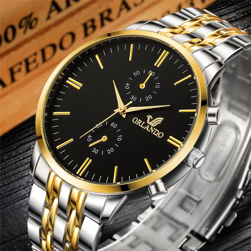 ORLANDO Mens Watch Luxury Quartz Watch Men Silver Gold Plated Stainless Steel Wristwatch Masculino Relogio Dress Relogio Saati