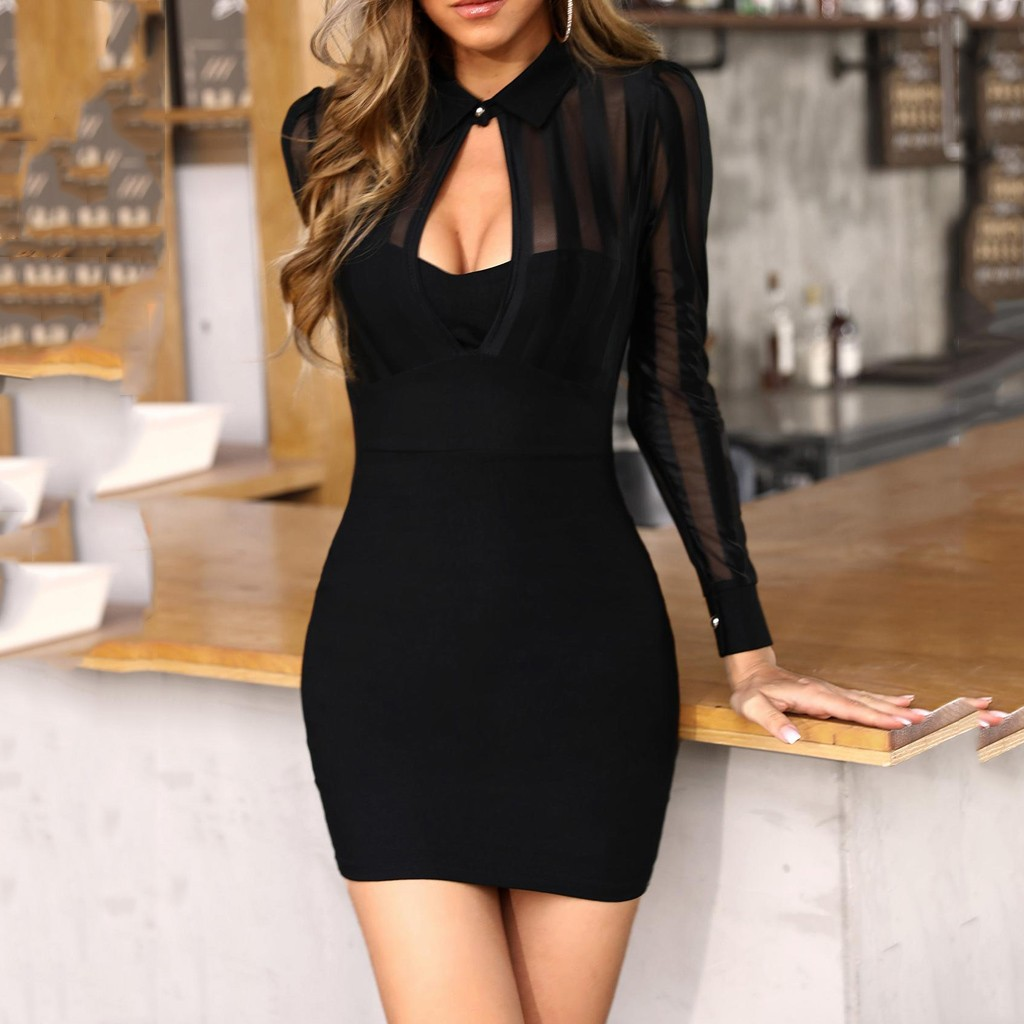 Summer Sexy Dress Long Sleeve Sheer Striped Mesh Patchwork Bodycon Casual Work Dress Black Party Night Club Bodycon DressDG4#