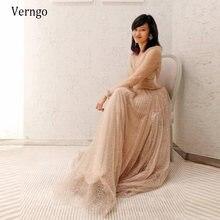 Verngo мерцание цвета шампанского с длинными рукавами вечернее