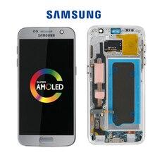 """Orijinal 5.1 """"ile yanık ve gölge için çerçeve ile LCD SAMSUNG Galaxy S7 G930 G930F ekran dokunmatik ekran Digitizer montaj"""