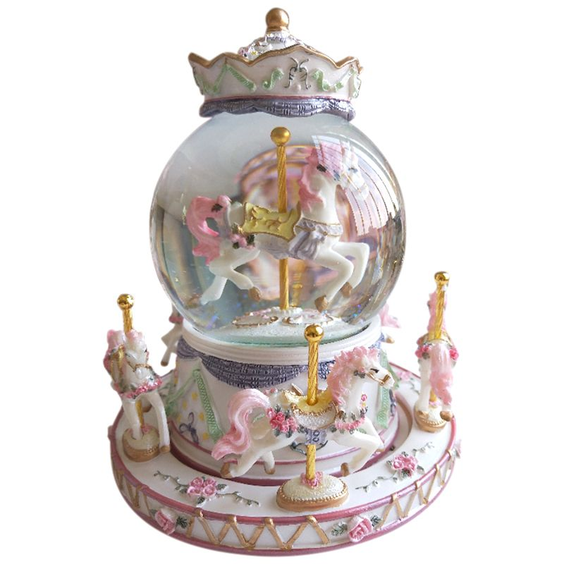 ELEG-Rotate Music Box, Luxury Carousel Glass Ball Doll Miniature Dollhouse Toy With Castle In The Sky Tune Perfect For Birthday