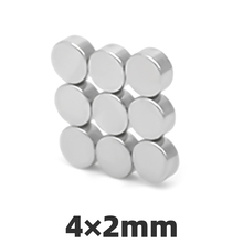 AGMA 100pcs 4x2mm Neodymium Magnet 4mm x 2mm Small Mini Round Super Strong Powerful Rare Earth Magnetic Magnets 4 * 2mm