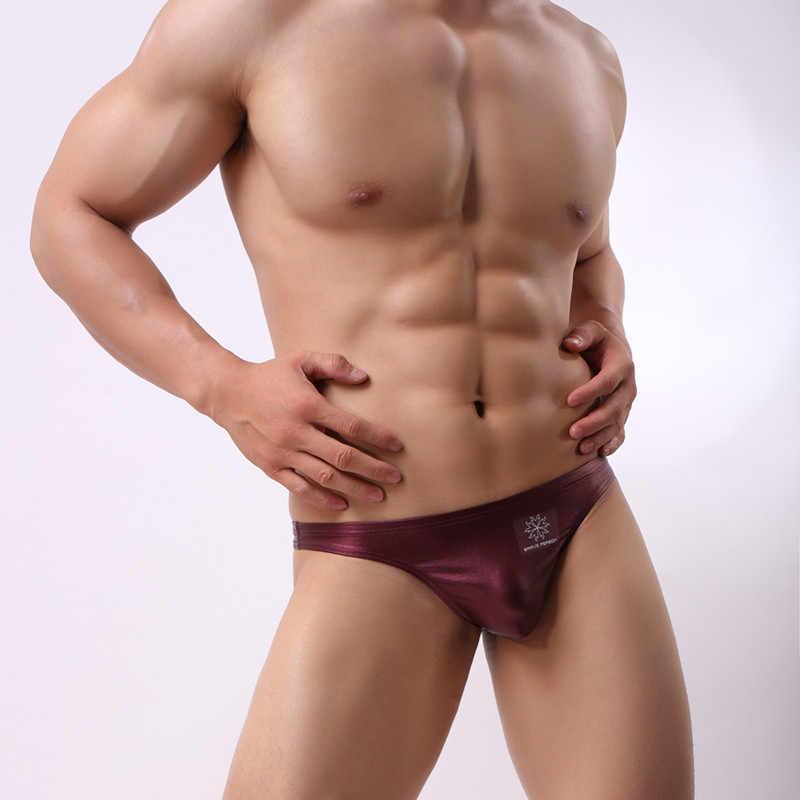 Sexy Lingerie Men's Underwear Faux Leather G-string Thongs Underpants U Convex Pouch T-Back Briefs