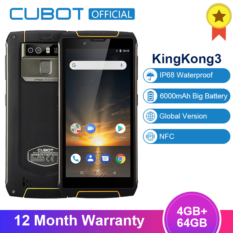 Cubot King Kong 3 IP68 Wasserdicht Stoßfest Smartphone 5.5 ''Android 8,1 4GB 64GB MT6763T Octa Core 9 v/2A NFC 18:9 Handy image