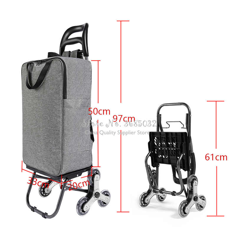 Climbing shopping cart trolley For elderly luggage trolley case folding trailer trolley household portable shopping bags
