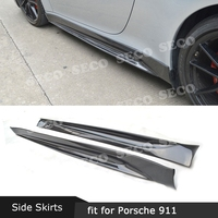 for Porsche 911 991 GT3 Carrera 2012 2015 Carbon fiber Side Skirts Aprons V Style Bumper Protector 2PCS/Set Car Styling