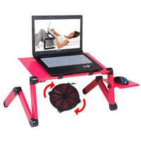 360 rolando mesa suporte para notebook suporte para cama dobrável portalbe mesa portátil para cama com grande ventilador de refrigeração e mouse almofada