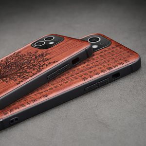 Image 3 - Carveit جراب هاتف من خشب الورد الأصلي ، جراب فاخر مع غطاء خشبي منحوت لهاتف iPhone 12 Pro Max ، 100%