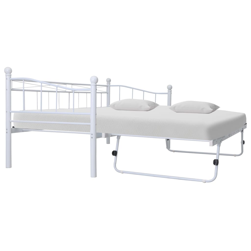 VidaXL Bed Frame White Steel 180x200/90x200 Cm