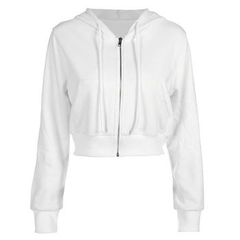 ipper Fall Winter Ladies Hoodie Pocket Slim Jacket Jacket Drawstring White Sexy Hooded Cotton Jacket 2020 Women black and white colour matching drawstring hooded hoodie