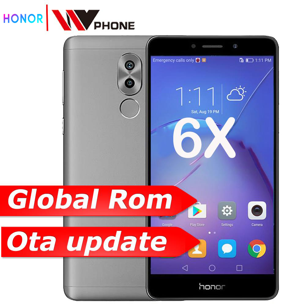 Original Honor 6X 3G RAM 32G ROM Dual Rear Camera LTE Mobile Phone Octa Core 5.5 Inch 1920x1080P Fingerprint ID