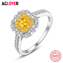 AGLOVER Hot Sale New 925 Sterling Silver Ring Big Zircon Ring For Charm Woman Fashion Wedding Party Jewelry Christmas Best Gift