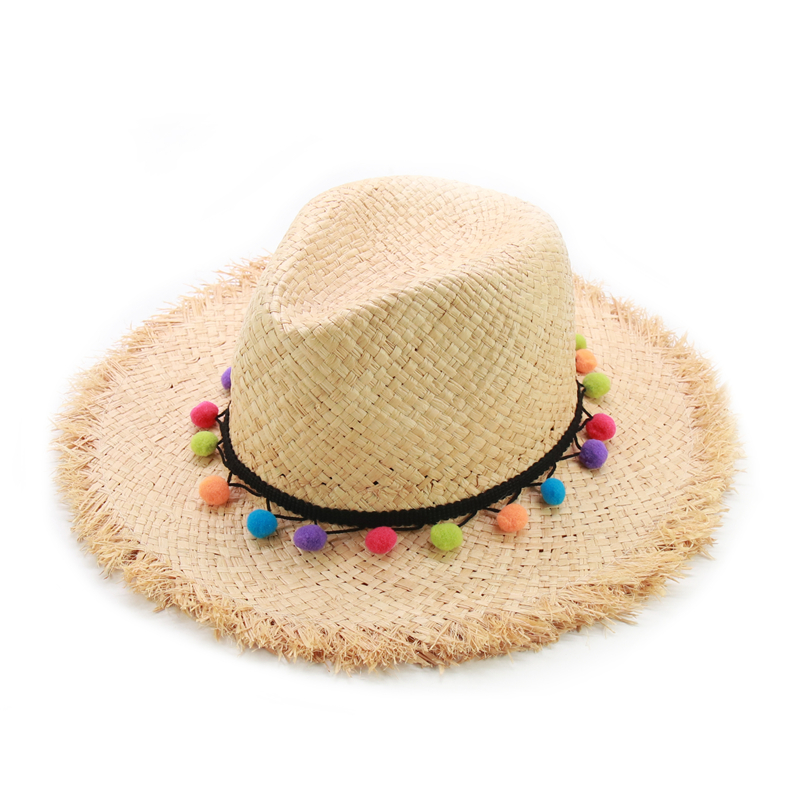 New Cute Pompom Raffia Sun Hat Women Summer Panama Beach Hats Ladies Visor Caps Wholesale