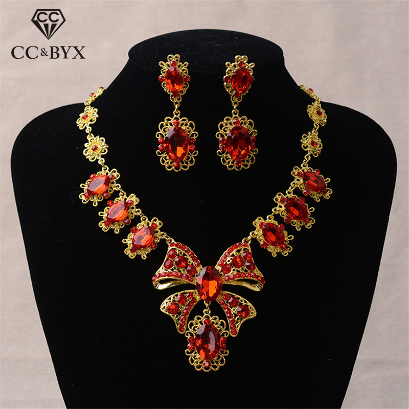 CC Jewelry Sets Necklace Stud Earring Luxury Pendant Wedding Accessories For Bridal Women Party Butterfly Shape WholesaleTL029