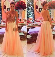 Mature sexy Beaded Chiffon transparent back 2018 elegant vestido de noiva robe de soiree lace appliques bridesmaid dresses