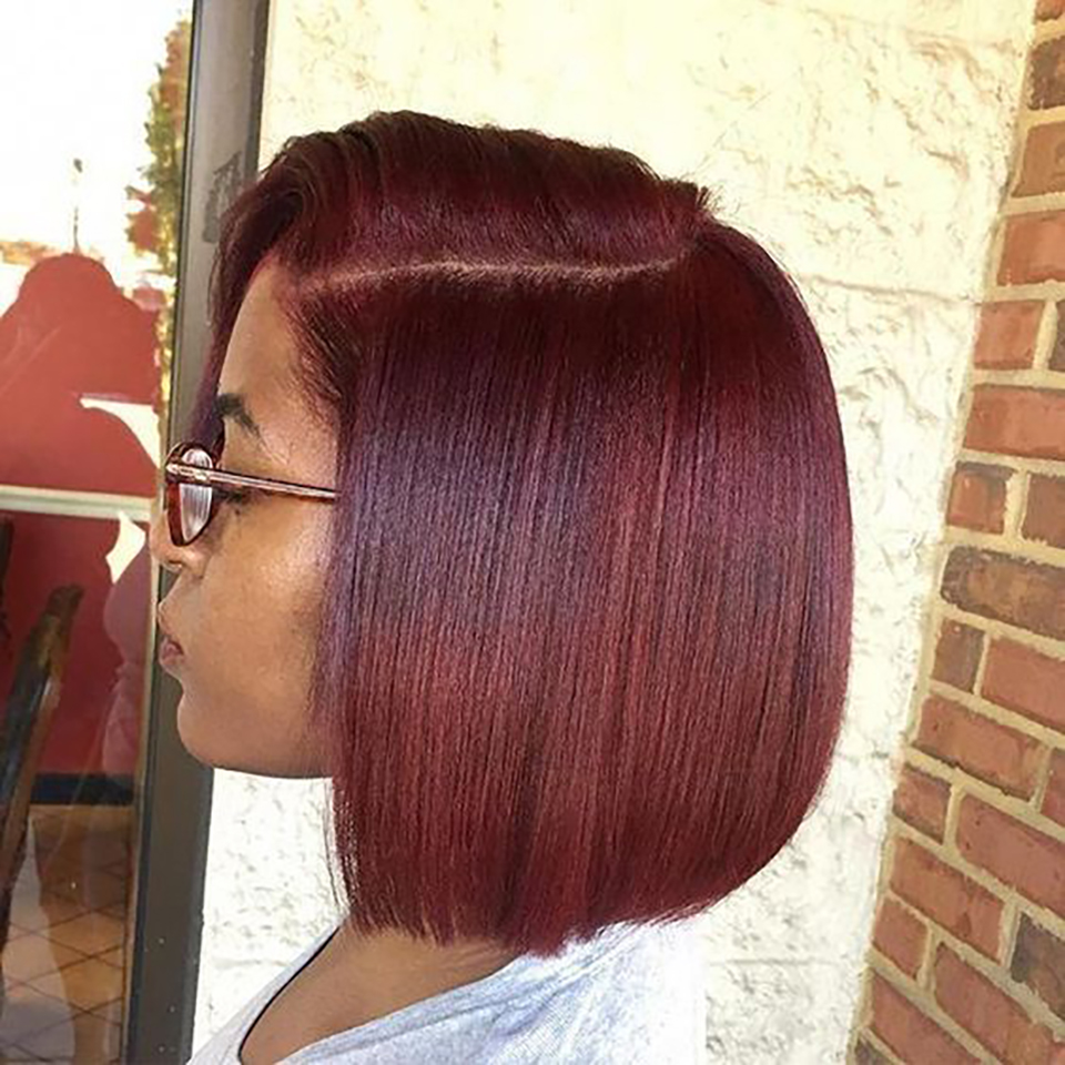 13X4 Frontal Lace Wig Burgundy 99J Color Wig 150% Pixie Short Bob Cut  Wigs  Preplucked   1