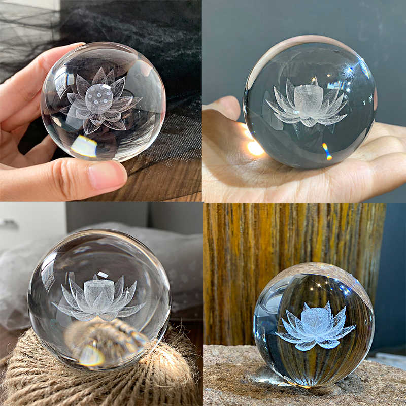 H & D 60Mm Inner Ukiran Bunga Teratai Bola Kristal Penindih Kertas dengan Berdiri Kaca Bola Meditasi Penyembuhan Bola Fengshui dekorasi Rumah