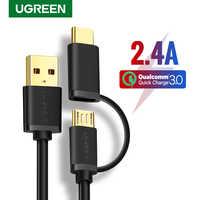 Ugreen USB Typ C Kabel für Samsung Galaxy S10 S9 Plus 2 in 1 Schnelle Lade Micro USB Kabel für xiaomi Tablet Android USB Kabel