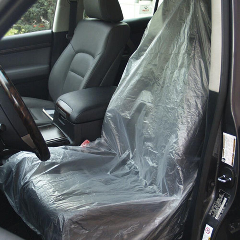 100 pièces voiture jetable en plastique siège couverture Garage universel jetable en plastique siège couvre véhicules protecteurs pour animaux de compagnie
