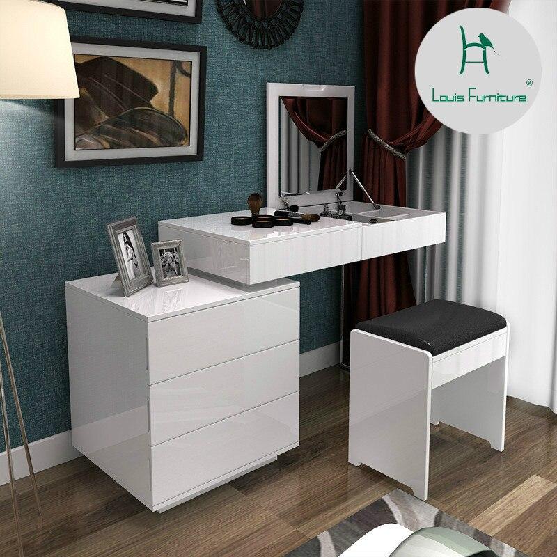 US $286.0 |Fashion white paint small apartment telescopic minimalist modern  computer desk dresser bedroom dresser combination of dual use on ...