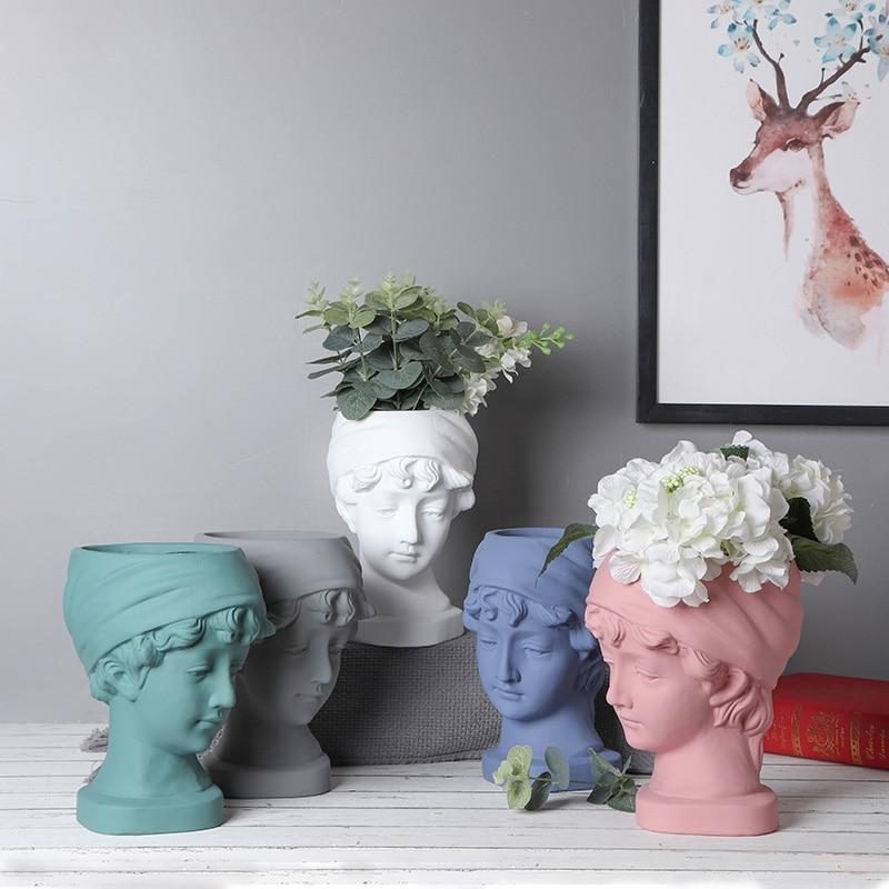 Portrait of a cement flowerpot ...