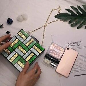 Image 3 - Nouvelle mode motifs géométriques sacs de soirée vert acrylique sac carré femmes jour pochettes fête bal mariage sacs à main embrayages