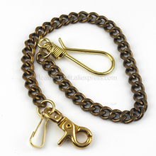 1 x Solid Brass Belt Hook Keychain Fob Clip Wallet Waist Chain With Lobster Snap 19.3 (49cm)