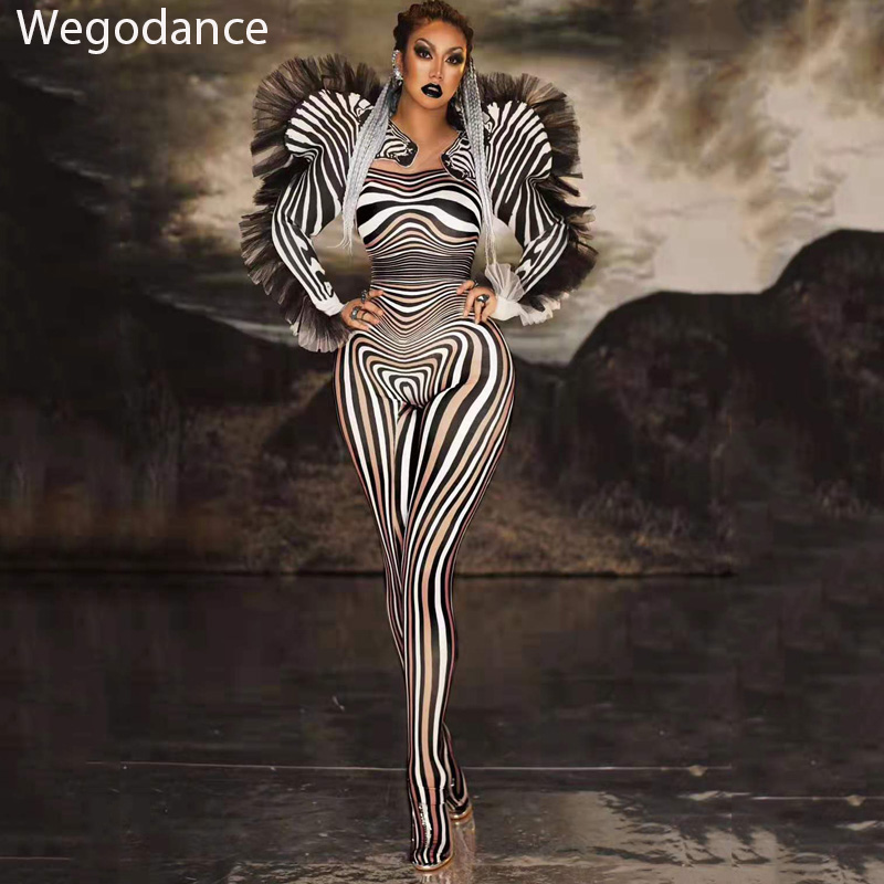 Hot Sale Zebra Pattern   Jumpsuit   Women Singer Sexy Stage Outfit Bar DS Dance Cosplay Bodysuit Costume Prom Model Show Clothes