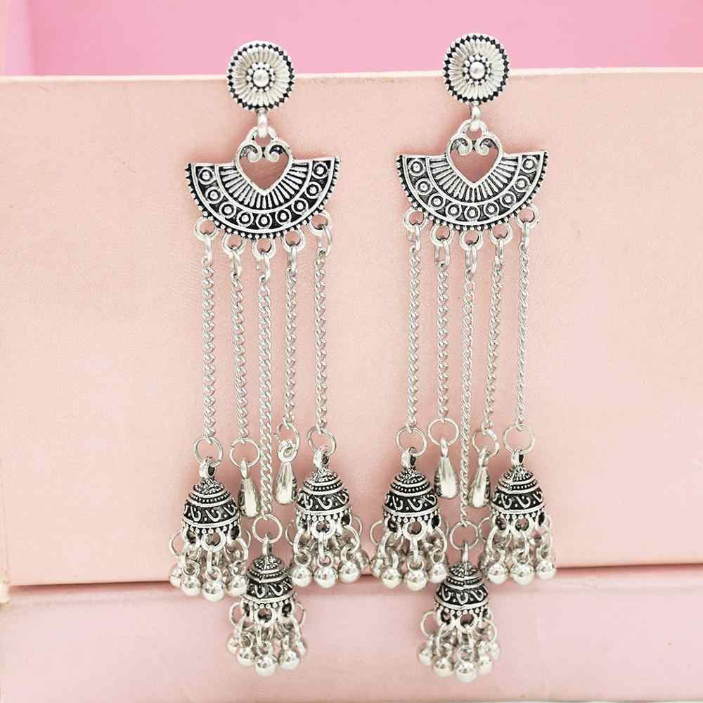 Indian Traditional Jewellery Earrings for Women Indian Jewelry Oxidized handmade long jhumki earring Bollywood Jewelry
