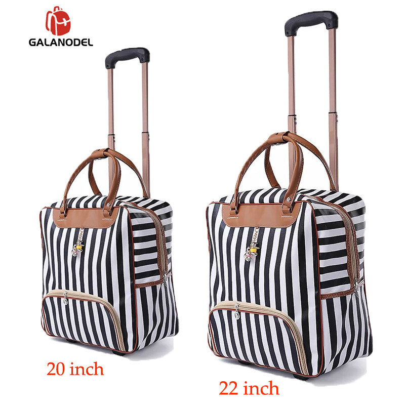 Women Trolley Luggage Rolling Suitcase Brand Casual Stripes Rolling Case Travel Bag On Wheels Carry Ons Suitcase Weekend Bag
