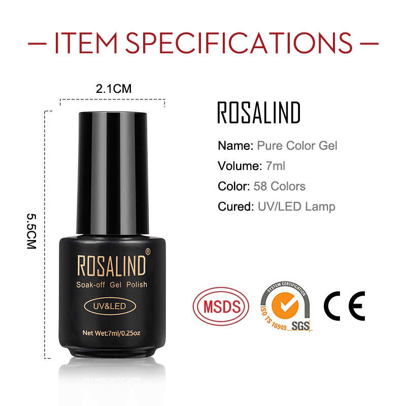 ROSALIND เล็บเจลเล็บชุด 4 PCS/ชุด UV เจลทั้งหมดสำหรับเล็บ Soak Off Gellak HYBRID Varnishes 7ML เล็บ Lacquer