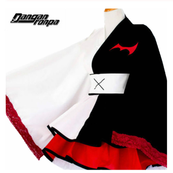 Anime Danganronpa Monokuma Cosplay Costumes Dangan Ronpa Kimono Pinafores Dresses Women Halloween Party Costume Wig недорого