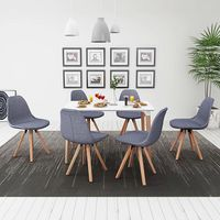 Elegant 7 Pcs Dining Table Set for Living Room Plastic Structure + Fabric Upholstery Chairs & MDF Table White and Light Gray