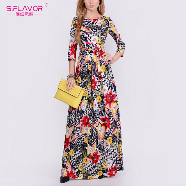 S.FLAVOR Women Elegant Floral Printed Summer Dress Fashion O Neck Three Quarter Sleeve Long Dresses Elegant Party Vestidos