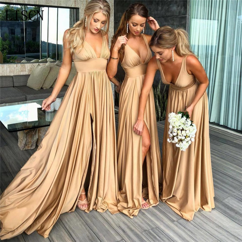 Backless Elastic Silk like Satin Sexy Side Split Deep V-neck Champagne Gold   Bridesmaid     Dress   Long Party Plus Size Guest Gowns